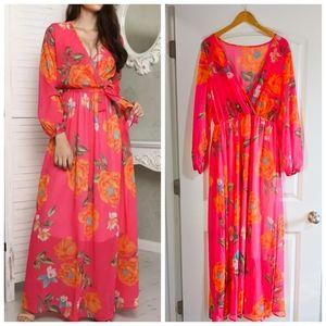Long Sleeve Pink Floral Maxi Dress Size XL